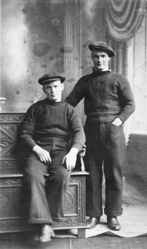 Studio portrait of Tom Costorphine and G. Tarvit, Cellardyke