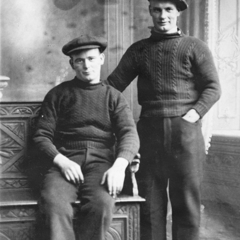 Studio portrait of Tom Costorphine and G. Tarvit, Cellardyke