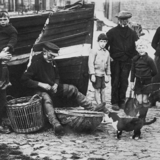 Fishermen and children at Dunbar, c.1927-1930. Original - C.Carruthers.