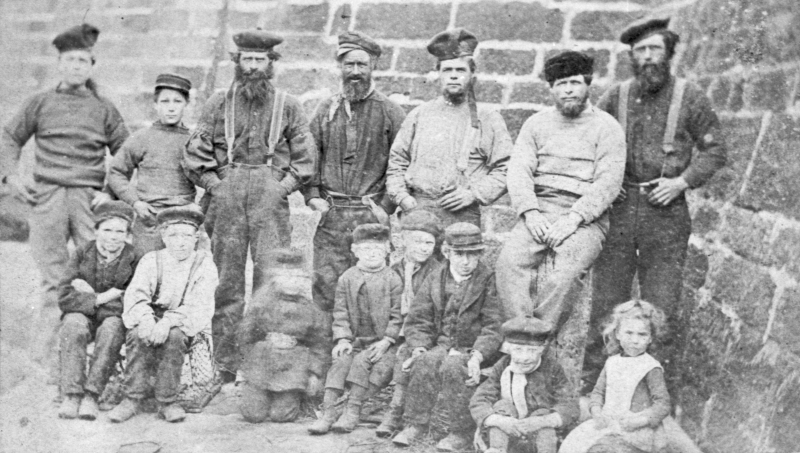 Group of Fishermen and Children, Cove, 1880s