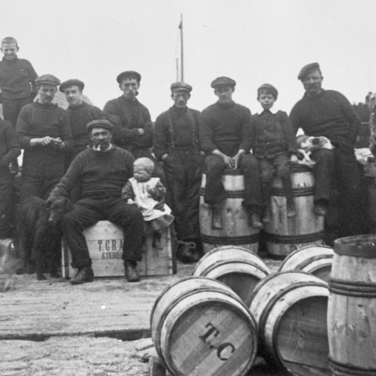 Fishermen and Their Sons on the Pier, Eyemouth, 1900s