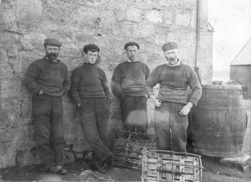 Group of four fishermen, Cove Harbour, Cockburnspath, Berwickshire, 1900