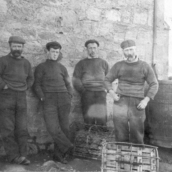 Group of four fishermen, Cove Harbour, Cockburnspath, Berwickshire, 1900