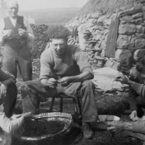 A Fisherman and His Family Baiting lLines, Isle of Lewis.