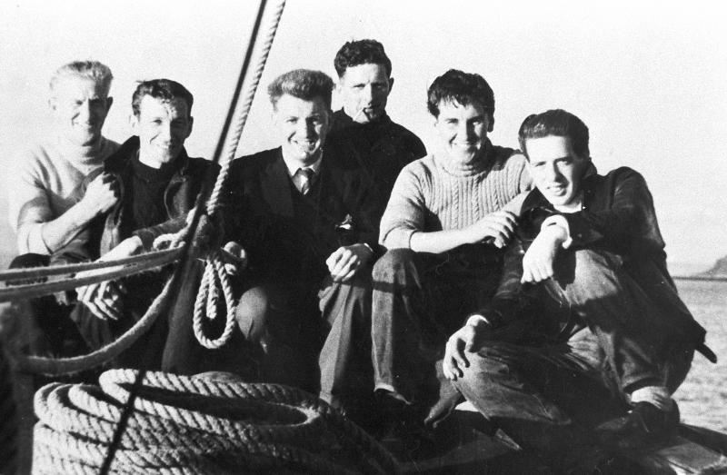 Group portrait of men onboard 'Stella Maris II', CN158, Campbeltown,c.1955-1956.