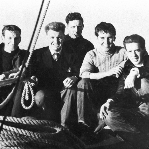 Group portrait of men onboard 'Stella Maris II', CN158, Campbeltown,c.1955-1956.