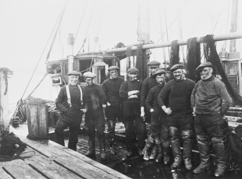 Crew of 'Annie Mathers', ML285. Skipper Mathers on the left.
