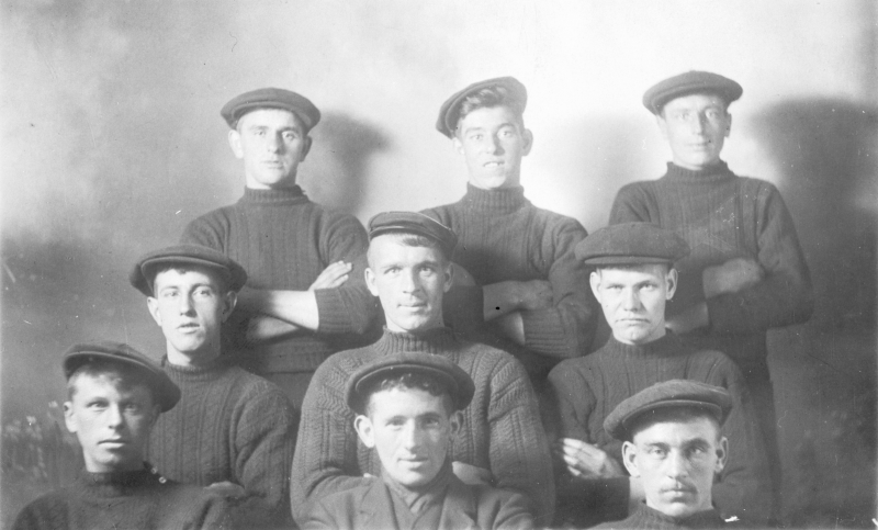 Studio portrait of fishermen, Cellardyke. Taken pre-1914. Back row, L-R: Ecky Davidson, Pratt, Tom Boyter Middle row, L-R: David Sheriff, Andrew Keay, Willie Jack, Front row, L-R: John Bett, John Smith, Alex Gourlay. John Bett drowned in 1914. Original image from E. Doig, Cellardyke.