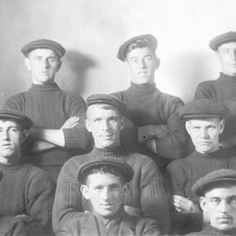 Studio portrait of fishermen, Cellardyke. Taken pre-1914. Back row, L-R: Ecky Davidson, Pratt, Tom Boyter Middle row, L-R: David Sheriff, Andrew Keay, Willie Jack, Front row, L-R: John Bett, John Smith, Alex Gourlay. John Bett drowned in 1914. Original image from E. Doig, Cellardyke.